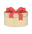 round gift box hand drawn colored sketch vector image