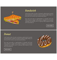 sandwich and donut posters vector image vector image