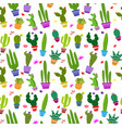 seamless pattern with different cactus vector image vector image