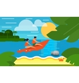 Seascape with People on Banana Boat vector image