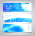set blue artistic watercolor backgrounds vector image