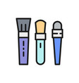 set makeup brushes for foundation and eyes flat vector image