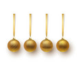 set of gold christmas ball with an ornament and vector image vector image