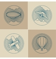 set round logo icons air transport and flying vector image