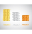 Stacks of coins Gold silver and copper template vector image