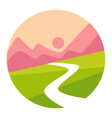 sunset mountains and valley isolated icon vector image vector image