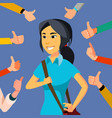 thumbs up business woman public approval vector image