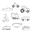 Transport and industrial sketched icons vector image vector image