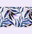 tropical pattern with palm tree in blue violet vector image vector image