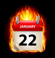 twenty-second january in calendar burning icon on vector image vector image