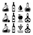 vinegar icon set - apple cider vinegar and vector image vector image