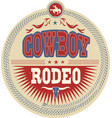 Wild west rodeo label with cowboy text and