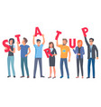 young people holding capital letters of startup vector image