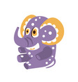 adorable cartoon elephant character sitting on a vector image vector image