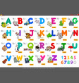 alphabet with cartoon characters set vector image vector image