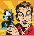 avatar portrait of man with retro camera vector image vector image