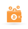 bitcoin orange wallet with logo and falling coins vector image vector image