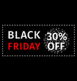 black friday sale coupon with discount percentage vector image vector image
