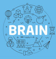 blue line flat circle brain vector image vector image