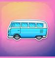 blue retro hippie van freedom for road trip vector image