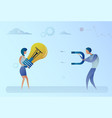 business man stealing light bulb idea from woman vector image vector image