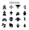 cold icon set vector image vector image