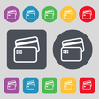 Credit card icon sign A set of 12 colored buttons vector image