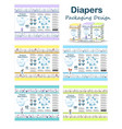 diaper packaging design elements in doodle forest vector image vector image