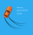 drifting car top view with tire tracks vector image vector image