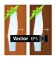 entrance wooden doors on a white background vector image vector image