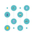 flat icons jewelry revolver parchment and other vector image vector image