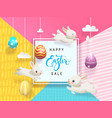 happy easter sale card decorated eggs hanging vector image