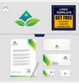 home leaf eco nature logo template and stationery vector image vector image