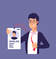 id card concept employee man with identity badge vector image