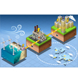 Isometric Infographic Windmill Offshore Renewable vector image
