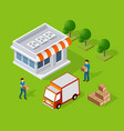 isometric loader worker vector image vector image