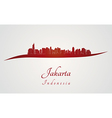 Jakarta Skyline in red vector image