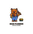 logo bear plumber mascot cartoon style vector image vector image