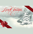 merry christmas greeting with winter landscape vector image vector image