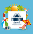 miami beach summer icons vector image vector image