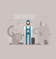 motor mechanic at work - modern flat design style vector image vector image