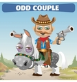 odd couple Cowboy rider and horse vector image