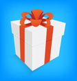 orange ribbon and white gift box isolated vector image vector image