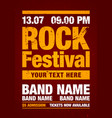 orange rock festival poster design template vector image vector image
