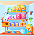 pet shop with scratching post toys bowl feed vector image