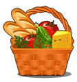 picnic wicker basket with food product fresh vector image