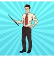 Pop Art Businessman with Pointer Stick vector image vector image