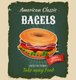 retro fast food bagel poster vector image vector image
