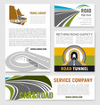 road travel company business templates set vector image vector image