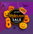 sale and 50 percent discount banner for halloween vector image